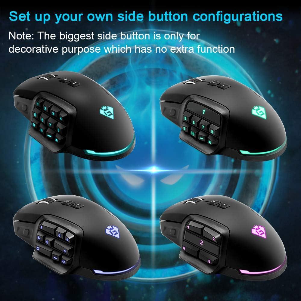 ⭐️Mouse da gioco cablato RGB, 【24000 DPI】【Tasto laterale intercambiabile】【Funzione Macro】【17 pulsanti programmabili】【Luce respiratoria】【Mouse ergonomico】MMO Gaming Mouse per Windows PC Games