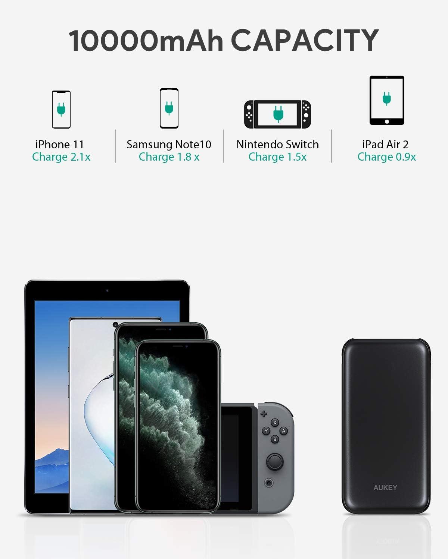 Samsung S8+//S8 Quick Charge 3.0 f/ür iPhone X//8//Plus//7//6s AUKEY Powerbank USB C 10000mAh Externerr Akku mit 18W Power Delivery Tablets. iPad