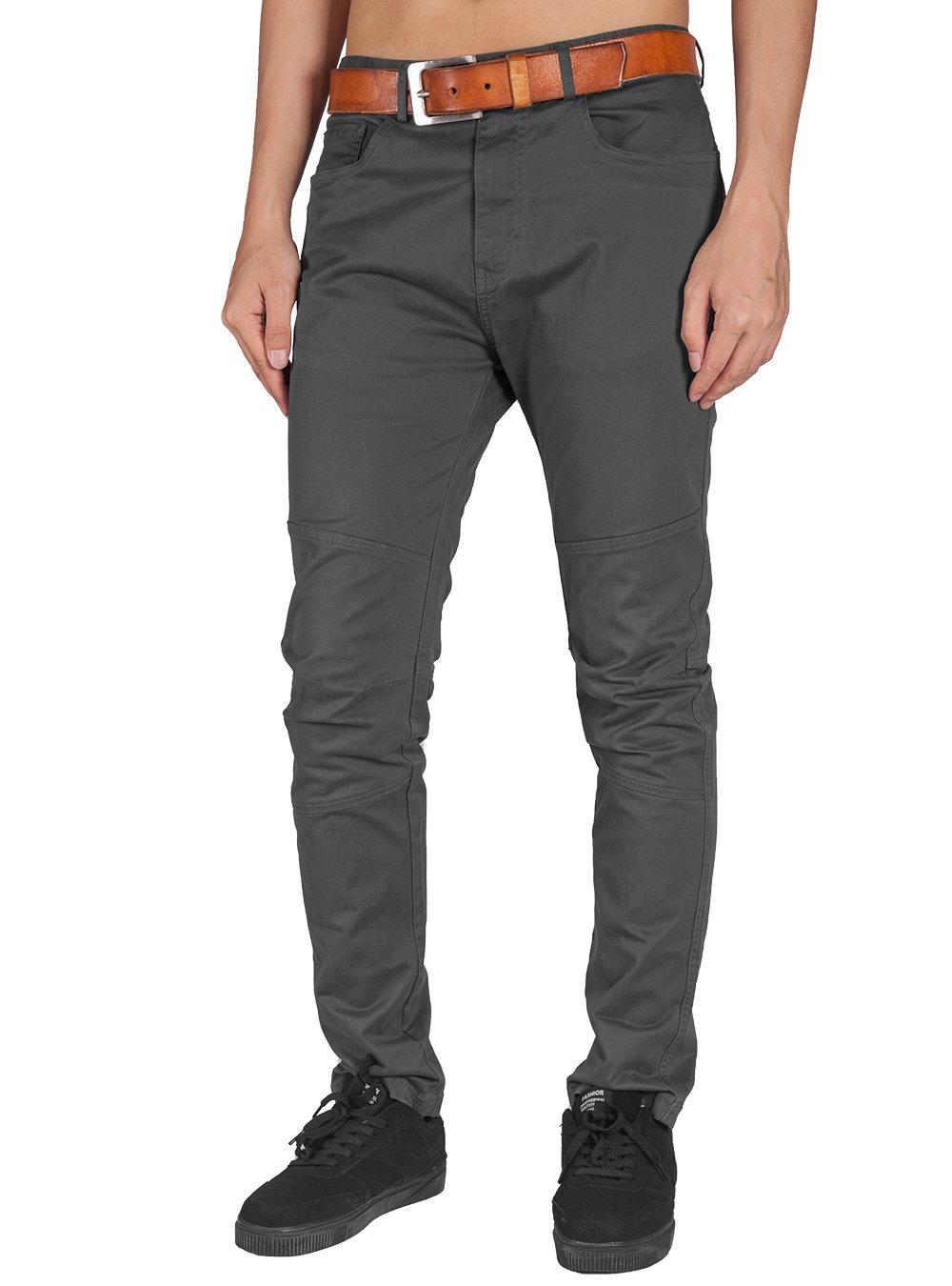 ITALY MORN Men Creative Informal Casual Slim Fit Chino Pant (Dark Grey, L)