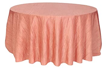 Nice Your Chair Covers   120 Inch Round Crinkle Taffeta Tablecloths Coral, Round  Table Linens For