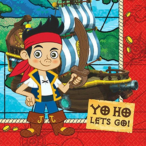 American Greetings Jake and the Never Land Pirates Lunch Napkins, 16 Count, Party Supplies - Lunch Napkins Pirate