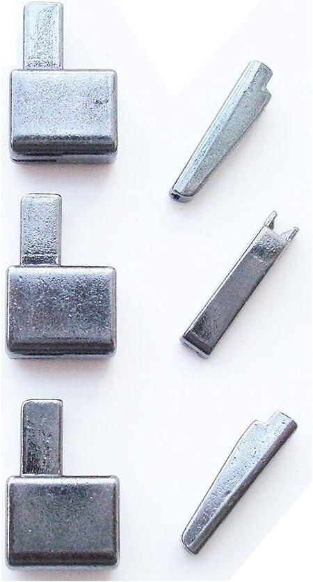 3 Sets #12 caja de retención de la cremallera de Metal y Pin de inserción, Kit de reparación de curvas de tapón inferior de la cremallera (Pistola de metal): Amazon.es: Hogar
