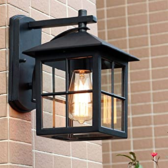 Vintage E27 exterior pared de la luz aluminio vidrio cubo diseño pared lámpara impermeable IP44 exterior Sconce para escalera pasillo vestíbulo entrada pabellón Jardín lámparas decorativas: Amazon.es: Iluminación