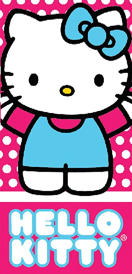 Pink and Blue Hello Kitty Girls Beach and Bath Towel