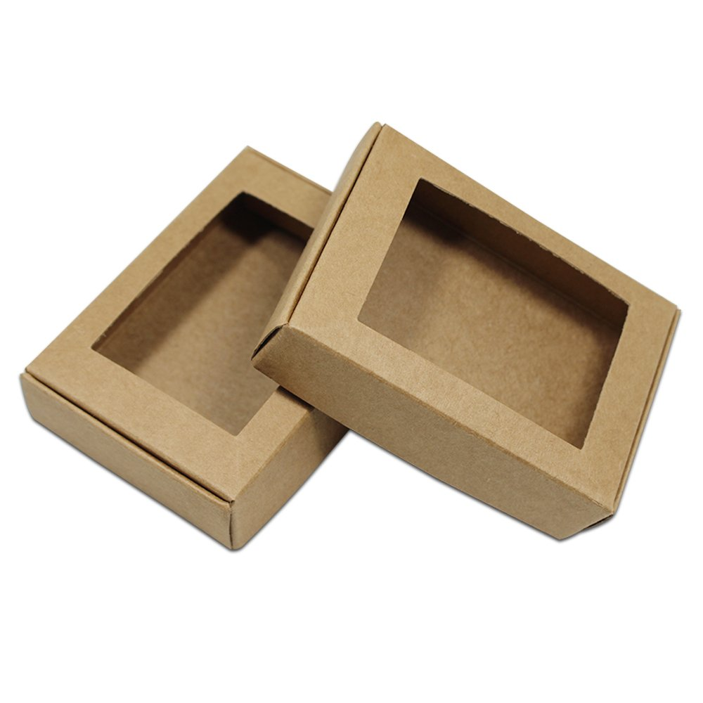 30Pcs Brown Kraft Paper Boxes Reusable Small Gifts Crafts Handmade Soap Cake Packaging Box with Rectangle Hollow Out Window Wedding Party Favor 9.4x6.2x3cm (3.7x2.4x1.2)