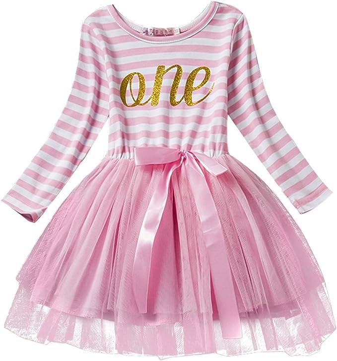 Tremendous Baby Girls Toddler Kids Princess Long Sleeve Dress 1St 2Nd 3Rd Birthday Cards Printable Benkemecafe Filternl