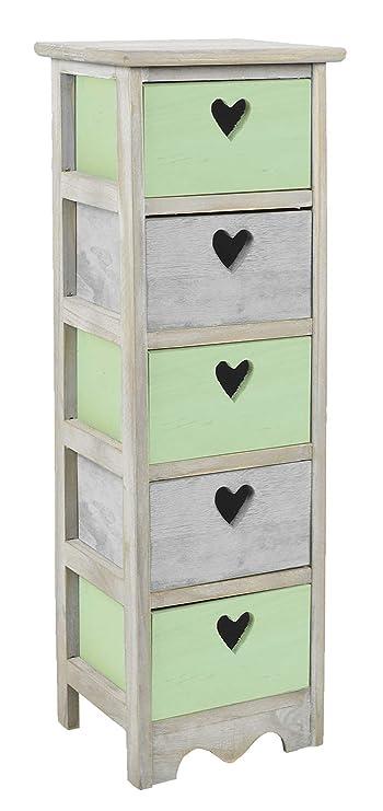 ts-ideen Cómoda estantería armario de madera estilo de la alquería rustico shabby para baño pasillo cocina sala gris con corazoncito