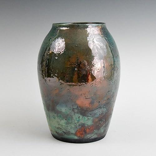 Amazon Raku Green Copper Metallic Handmade Pottery Vase Gift