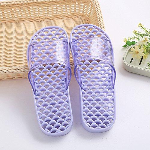 mhgao Ladies casa zapatillas de baño zapatillas de masaje zapatillas hueco PVC antideslizante light purple