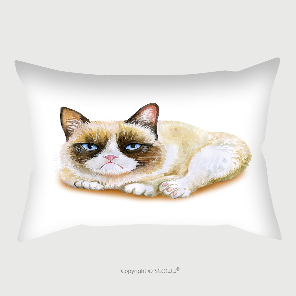 Custom Satin Pillowcase Protector Watercolor Portrait Of American Snowshoe Grumpy Cat Isolated On White Background. Hand Drawn Detailed Sweet Home Pet. Bright Colors, Realistic Look. Greeting C