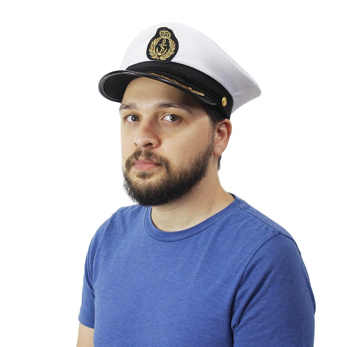 Police 2 Pc Set Sea Captain Hats For Halloween Pretend Play Juvale Costume Headwear