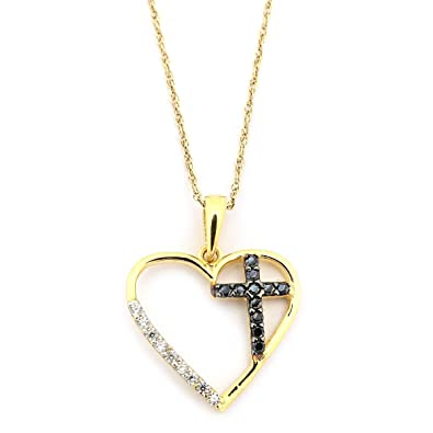 amazon com 14k yellow gold black and white cubic zirconia cross