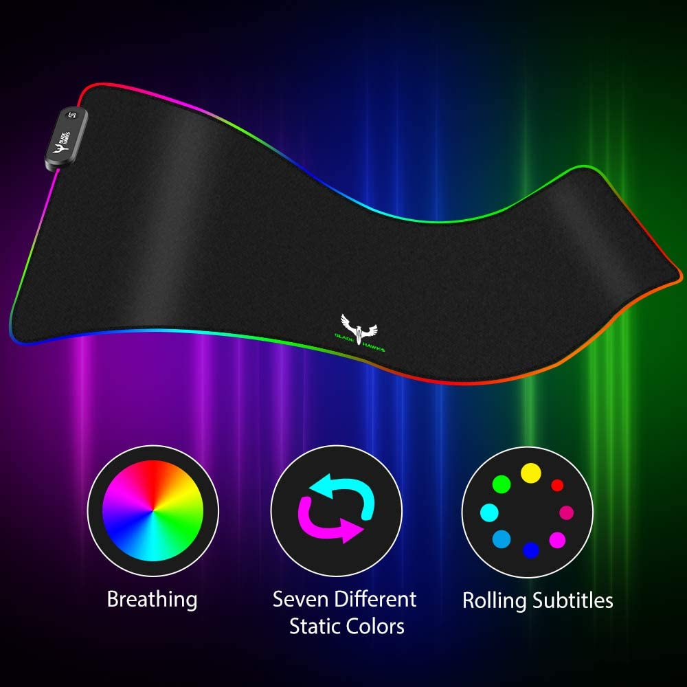 Blade Hawks RGB Gaming Mouse Pad Computer Keyboard Mouse Mat Anti-Slip Rubber Base 31.5 X 12 Inch LED Soft Extra Extended Large Mouse Pad