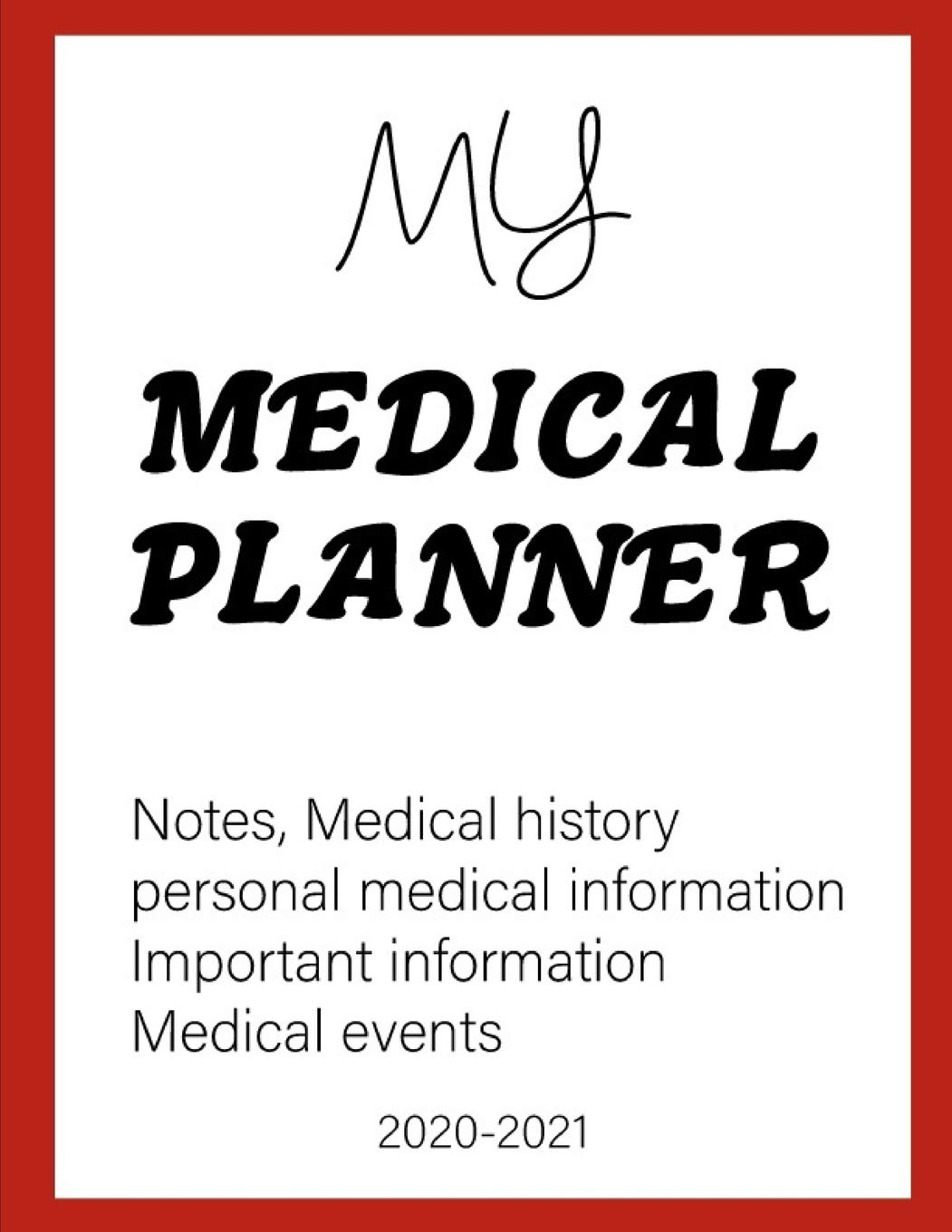 Important Events 2020.My Medical Planner Notes Medical History Personal Medical