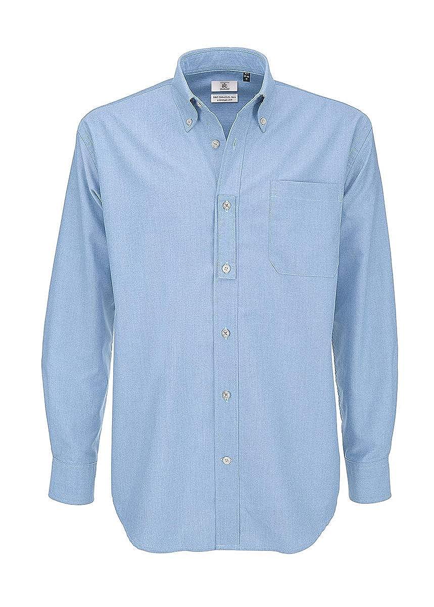 Camicia da Lavoro Uomo Manica Lunga con Taschino Misto Cotone B/&C DNM Oxford