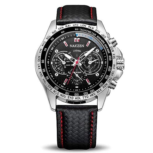 (Negro/Blanco) Reloj para Hombre NAKZEN Marca Relojes de Cuarzo de Lujo Sport Casual Luminoso Reloj de Moda Impermeable para Hombres: Amazon.es: Relojes