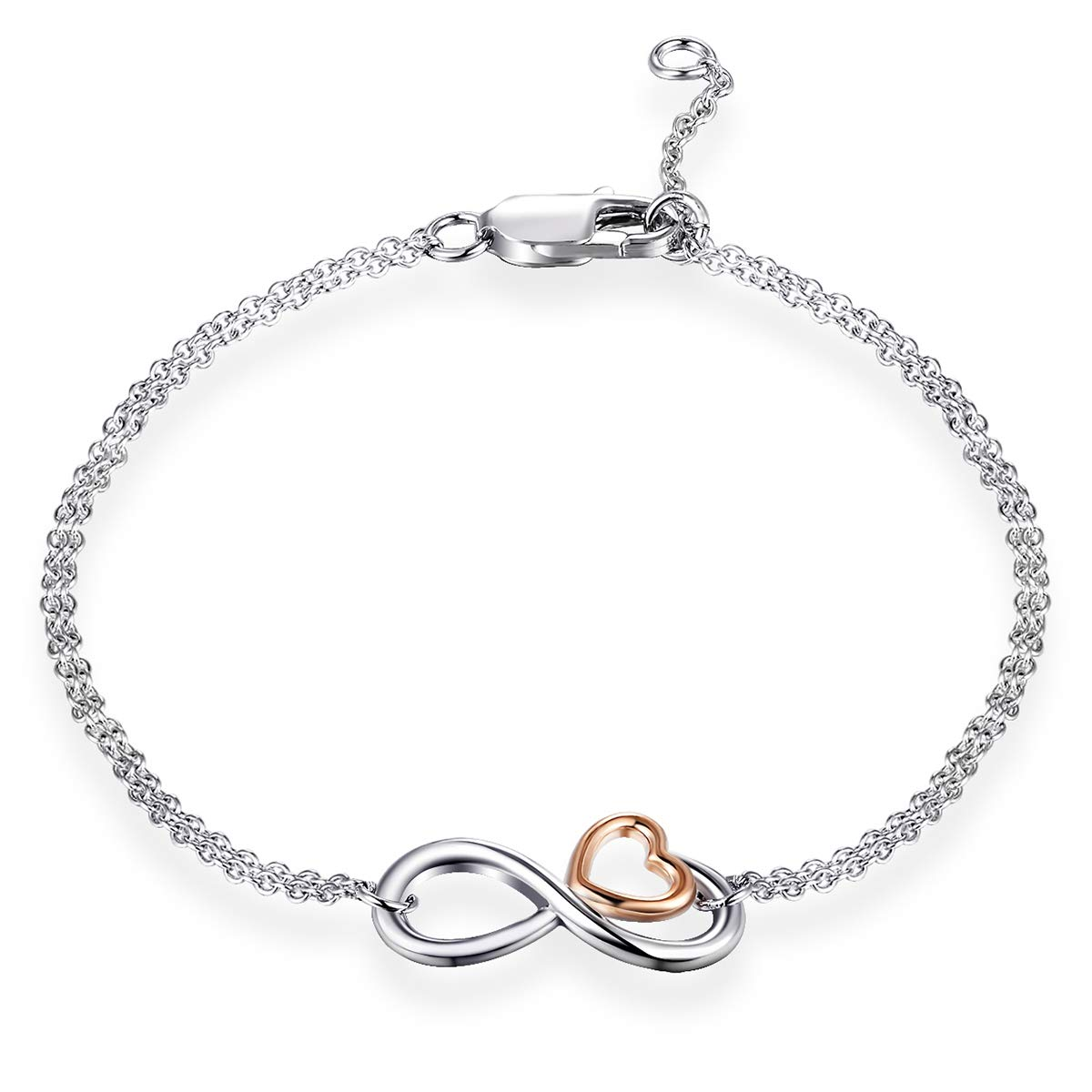 MUATOGIML 925 Sterling Silver Infinity Endless Love Heart Symbol Charm Adjustable Bracelet for Women Girls