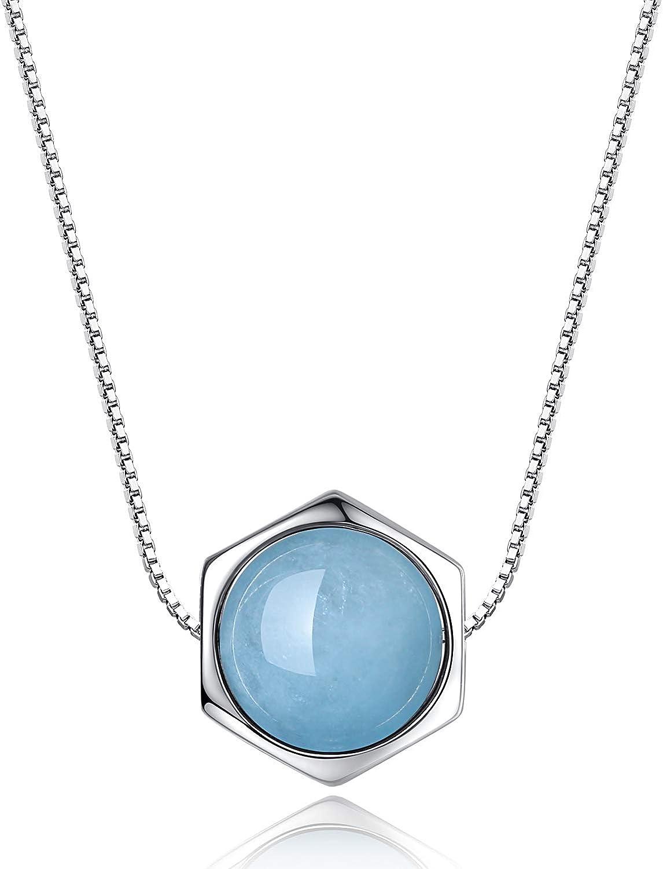 COAI Collar para Mujer de Plata de Ley con Colgante Hexagonal de Piedras Naturales