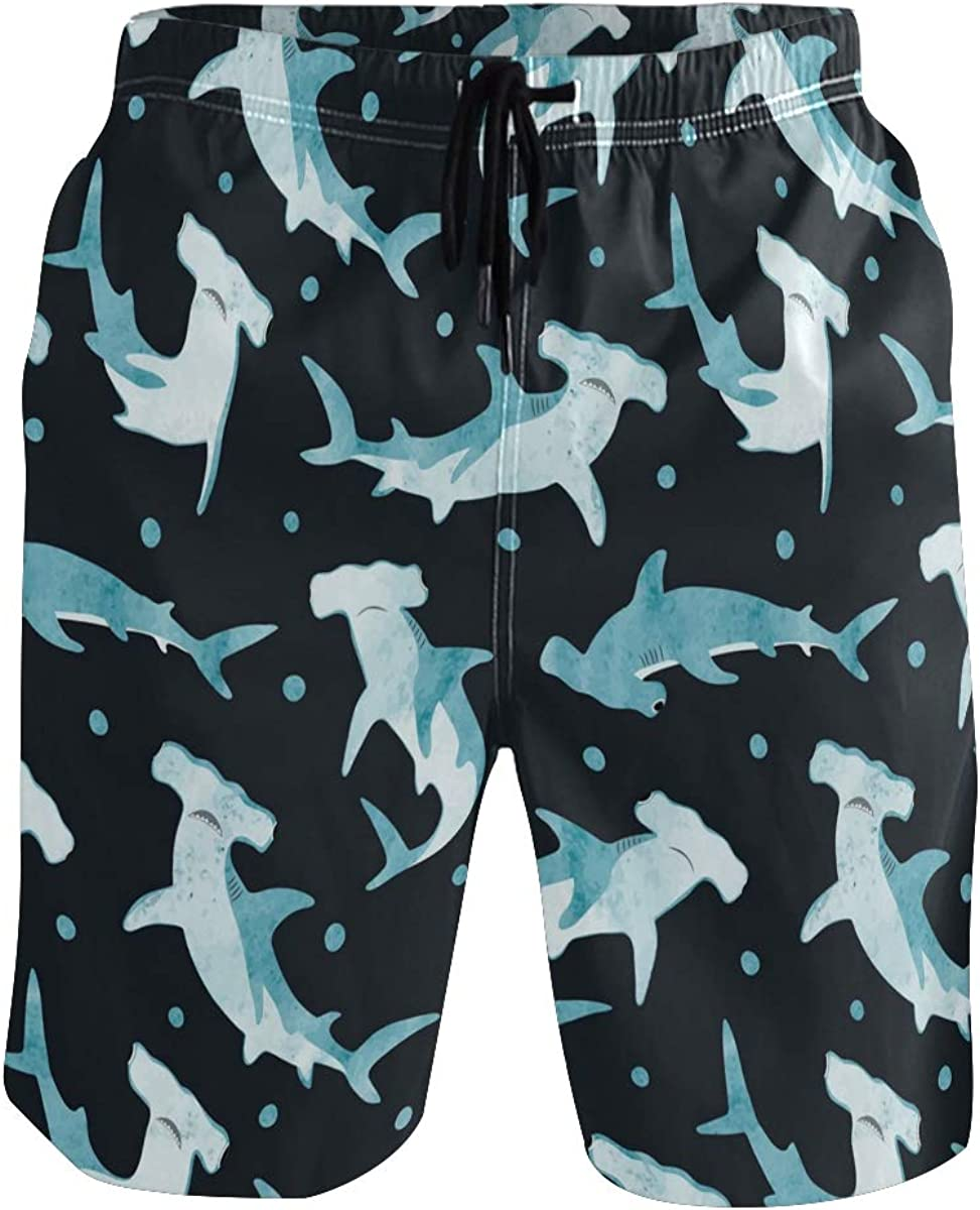 CHINEIN Men's Quick Dry Swim Trunks Sportwear Beach Board Shorts Hammerhead Shark