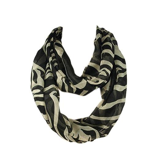 c4463b582c1 Zebra Animal Print Infinity Loop Fashion Scarf - Gray & Beige Colors  Available