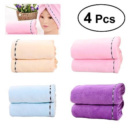 frcolor pelo toallas de secado para mujer, 4 piezas microfibra pelo secado rápido Cap Ong
