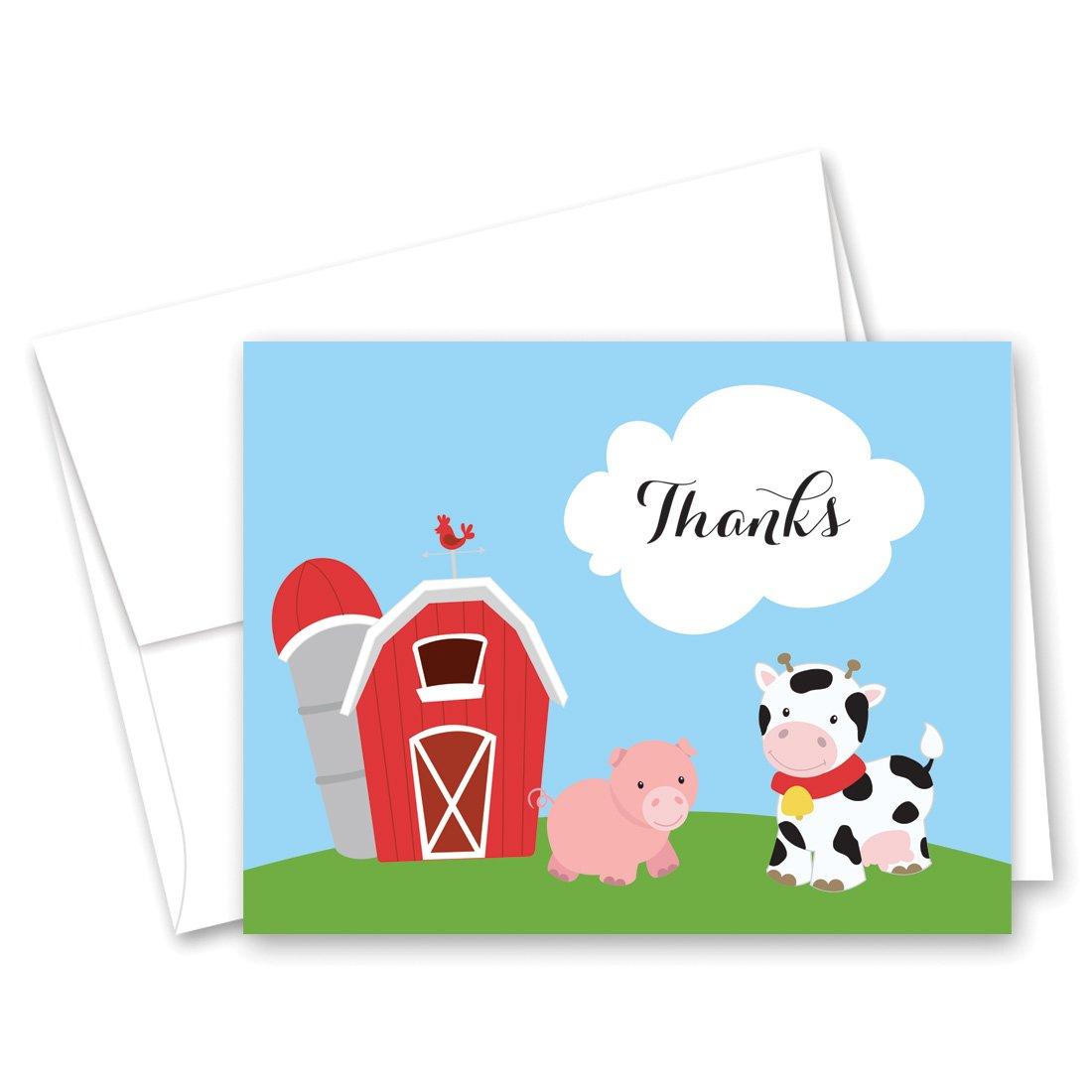 MyExpression.com 50 Cnt Fun Farm Animals Baby Thank You Cards
