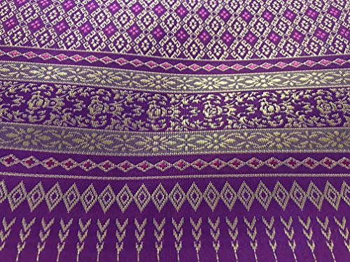 (Amornphan 44 Inches Purple and Gold Traditional Thai Silk Damask Fabric for Wedding Dress Skirt by The Yard)