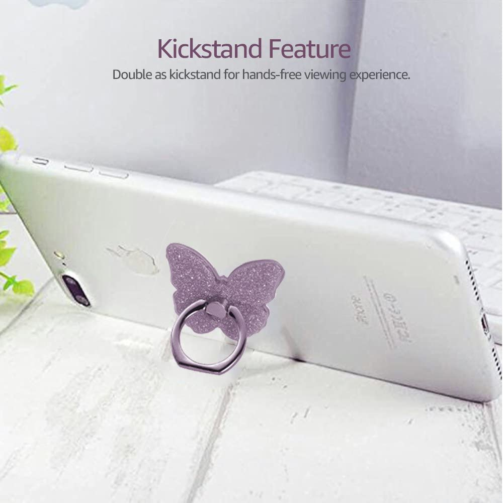 Finger Ring Stand Butterfly,Purple+Pink 2 Pack Glitter 360/°Rotation Universal Phone Grip Holder Kickstand for iPhone X 8 8 Plus 7 7 Plus 6s 6 Plus,Galaxy S9 S9 Plus S8 Plus S6 S7 and More Device