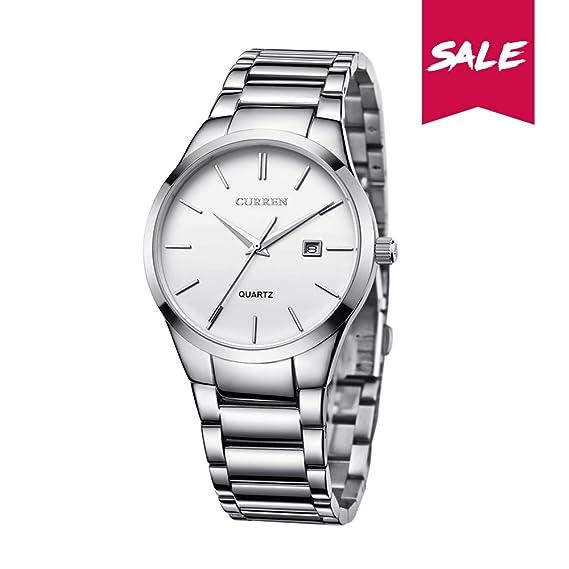 aae816c37db CURREN Men Sports Stainless Steel Band Quartz Analog Display Watch with  Date Window Waterproof Wrist Watch