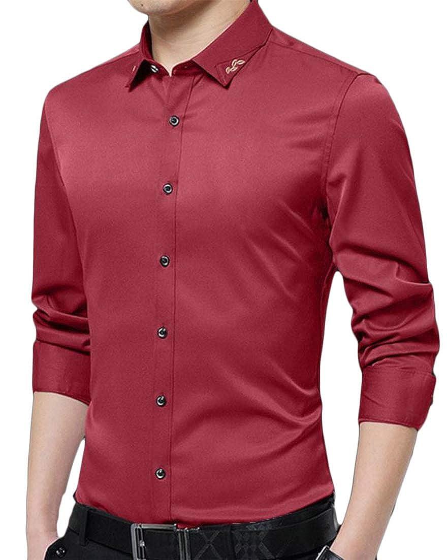 Macondoo Mens Long Sleeve Turn Down Solid No-Iron Formal Fleece Button Front Shirts