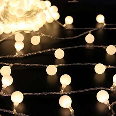 Amazon 50 leds 16 feet globe led string lights battery 50 leds 16 feet globe led string lights battery powered indoor outdoor decorative fairy lights curtain aloadofball Image collections