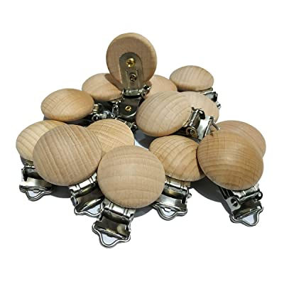 20pcs/lot Metal Wooden Baby Pacifier Clips Solid Color Holders Cute Infant Soother Clasps Holders Baby Teether Accessories (3cm 20pcs) : Baby