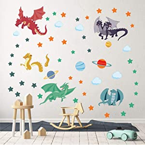 decalmile Cute Dragon Wall Decals Planets Stars Wall Stickers Playroom Boys Bedroom Kids Room Wall Decor