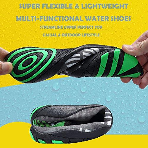 SIKELO Leichte Männer und Frauen Quick-Dry Sport Wasser Schuhe Blatt grau