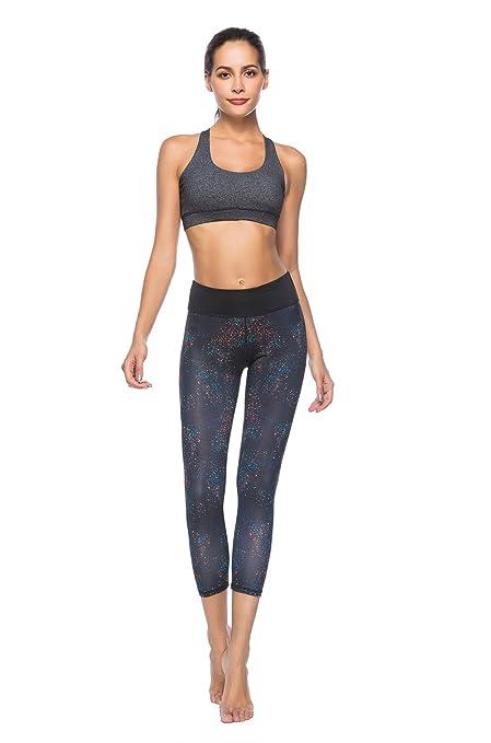 8c6cfa5609556 SOUTEAM Women's Workout Capri Pants Printed Active Yoga Leggings, Black,  Medium