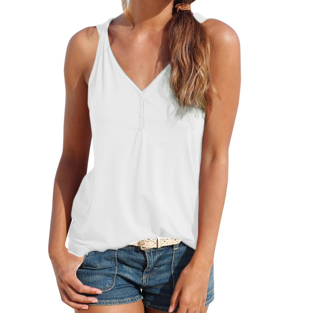 Womens Tank Tops Sleeveless Summer Strappy Vest Casual Elegant Shirt Blouse Tunics Cardigan Camisole Dress Polos White