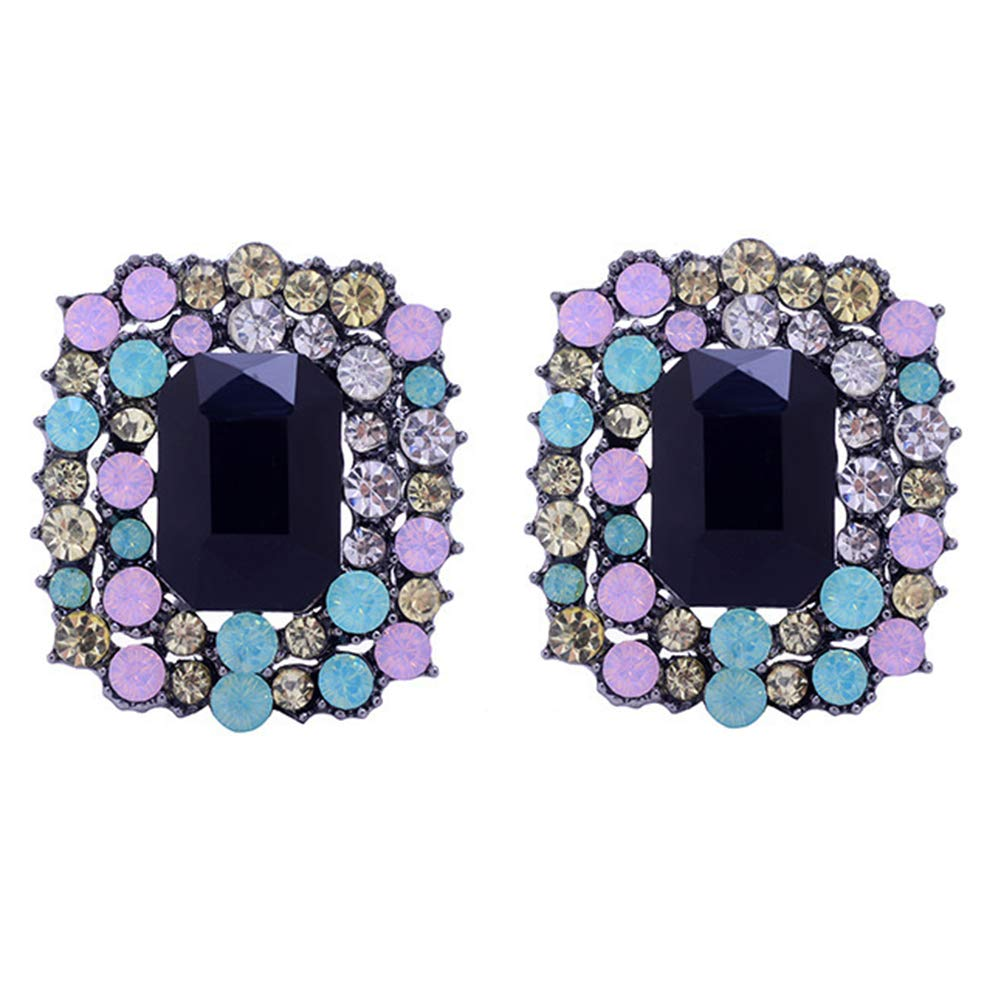 Everrikle Earrings,Fashion Women Multicolor Big Rectangle Rhinestone Ear Stud Earrings Jewelry Gift