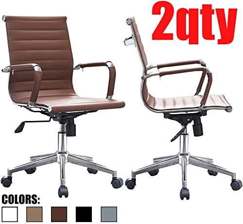 Set of Two 2 – Brown – Modern Mid Back Ribbed PU Leather Swivel Tilt Adjustable Chair Designer Boss Executive Management Manager Office Conference Room Work Task Computer