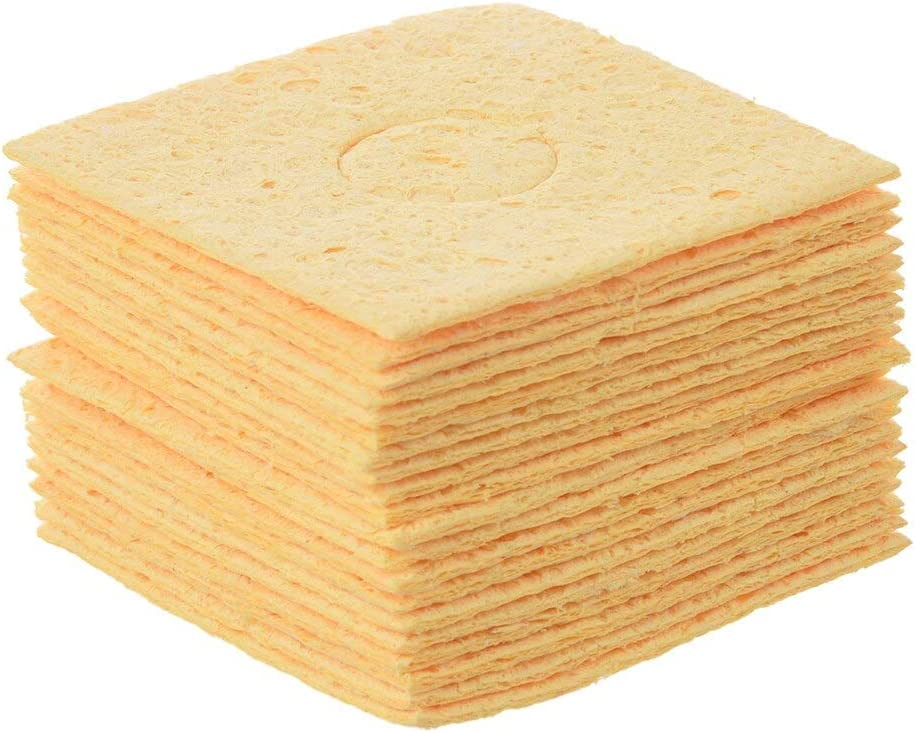Color: Yellow Soldering MYLB-20 Pcs Replacement Soldering Iron Cleaning Sponge 59mm x 59mm x 1mm