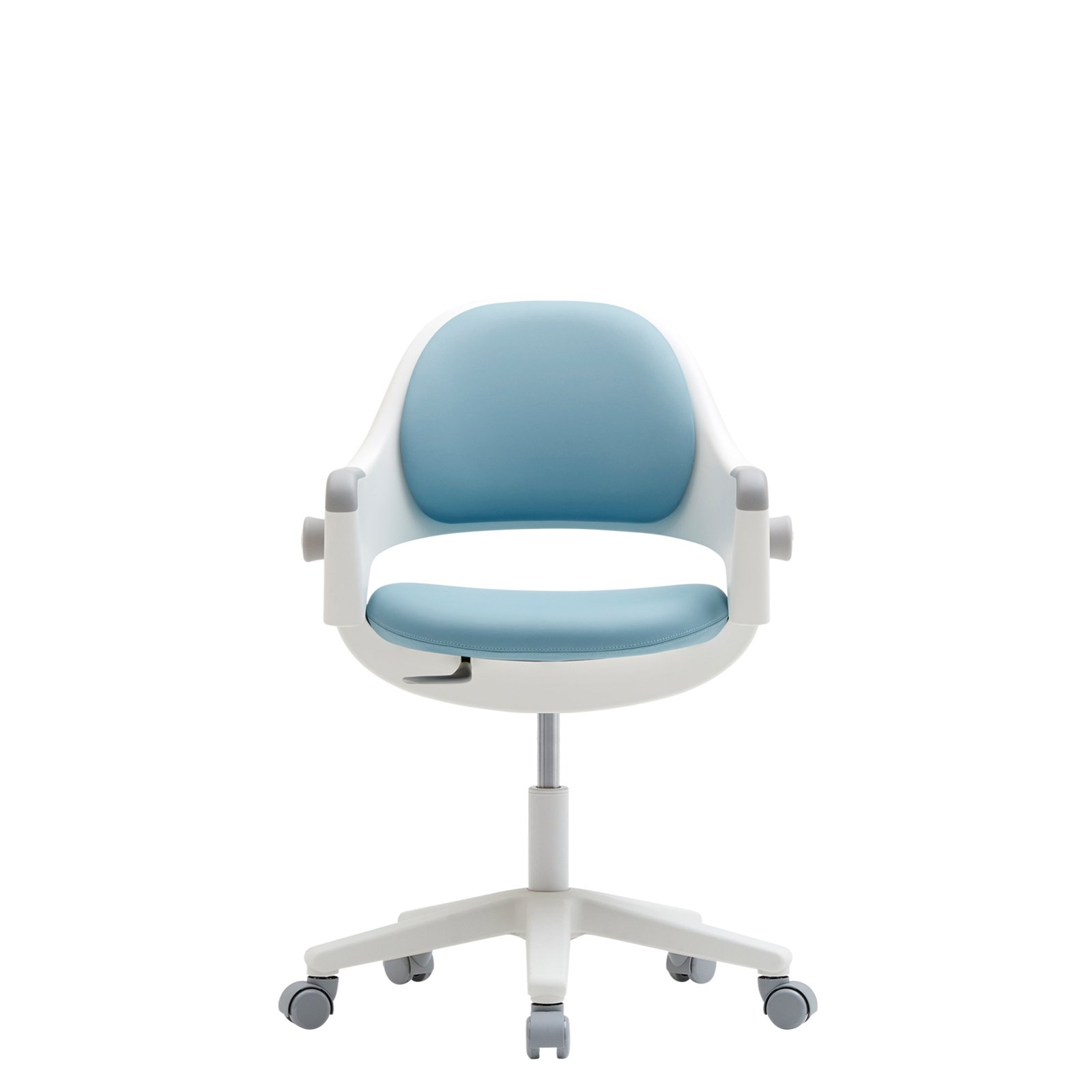 SIDIZ Ringo Rotation Gas Lift Desk Chair for Growing Kids (Lavender Blue (A374M, Synthetic Leather)+Foot Rest)