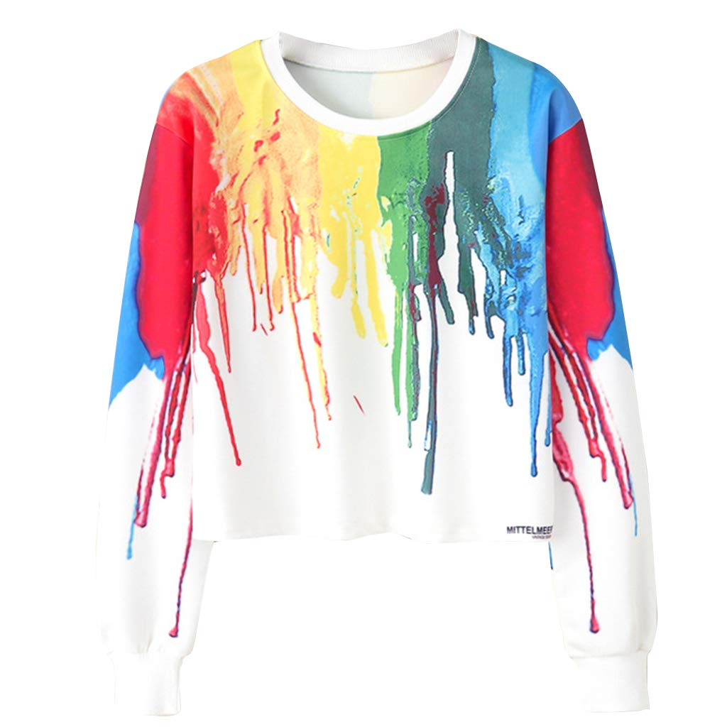 Womens Cute Cartoon Print Crop Top Teen Girls Long Sleeve Sweater Jacket Sweatshirt Jumper Pullover Tops Clearance