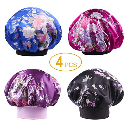 0b206f7c683 Tinbrot Sleeping Cap 4 PCS Satin Hair Bonnet Hair Loss Hat for Women ...