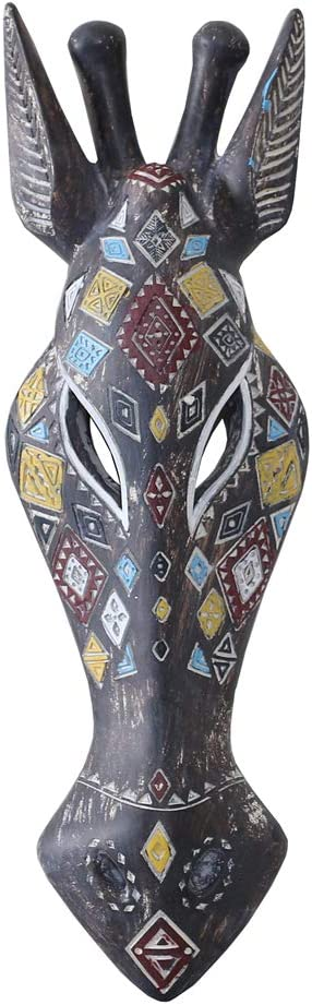 Otartu 5 by 14 inch African Animal Giraffe Mask Wall Decor Sculpture Hand Carved Geometric on The Surface,Africa Style Wall Plaque