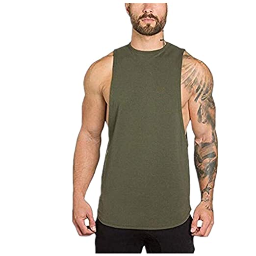09bc7c68d4fede Men s Muscle Gym Workout Stringer Tank Tops Bodybuilding Fitness T-Shirts  Workout Tank Top Army