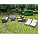 Cheap MAGIC UNION Outdoor Patio PE Rattan Wicker Cushion Furniture Patio Furniture 13 Pieces Sofa Set