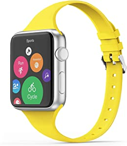 THWALK Sport Band Compatible with Apple Watch 38/40mm 42/44mm Slim Thin Narrow Silicone Replacement Strap with Stainless Steel Buckle Compatible for iWatch SE Series 6/5/4/3/2/1(Yellow, 38/40mm)