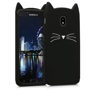 kwmobile Funda compatible con Samsung Galaxy J7 (2017) DUOS - Carcasa de [silicona] y diseño con gato - Cover [trasero] de móvil