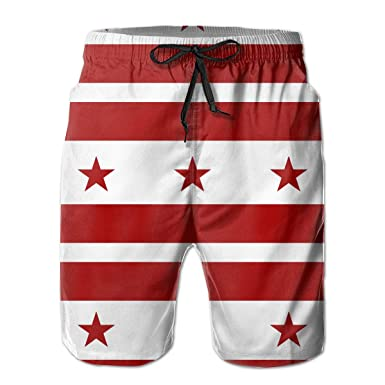 6d54c65fbe Amazon.com: Flag of The District of Columbia Mens Beach Boardshort Summer  Casual Swim Shorts with Pockets: Clothing