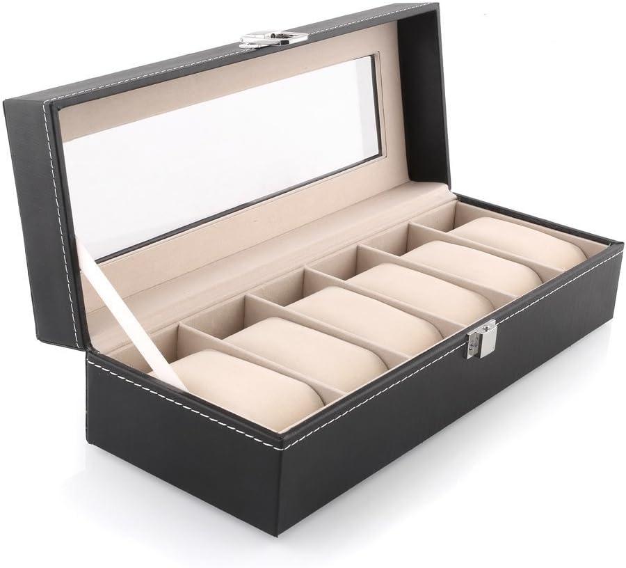 Amzdeal Caja para Reloj, Pulsera, Joyas con Almohadas Pequeñas y Tapa Transparente(6 Casillas)