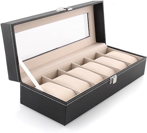Amzdeal Caja para Reloj, Pulsera, Joyas con Almohadas Pequeñas y Tapa Transparente(6 Casillas): Amazon.es: Relojes